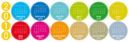 Colorful Calendar for year 2010 in a circles theme. in vector format. Stock Vector - 5250377