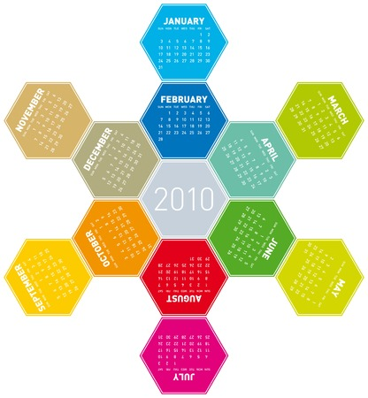 Calendar for year 2010 in an hexagonal pattern (vector format) Stock Vector - 5250376