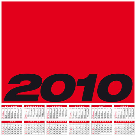 Calendar for year 2010, in vector format Stock Vector - 5334883