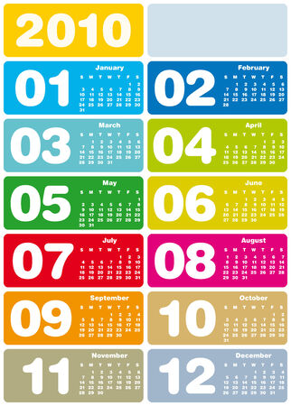 Colorful Calendar for year 2010 in vector format Stock Vector - 5334884