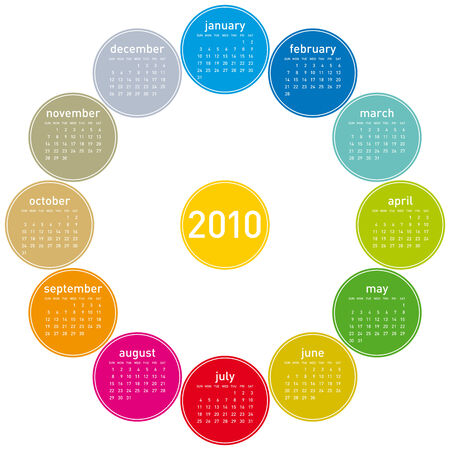 Colorful Calendar for year 2010, in vector format. Stock Vector - 5372409