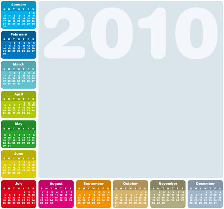Colorful Calendar for year 2010 in vector format Stock Vector - 5467091