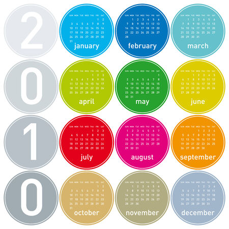 Colorful Calendar for year 2010 in a circles theme. in vector format. Stock Vector - 5467092