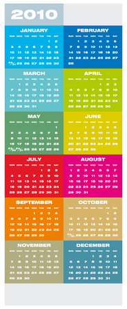 Colorful Calendar for year 2010 in vector format Stock Vector - 5467088