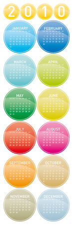 Colorful Calendar for year 2010 in a circles theme. in vector format. Stock Vector - 5501584