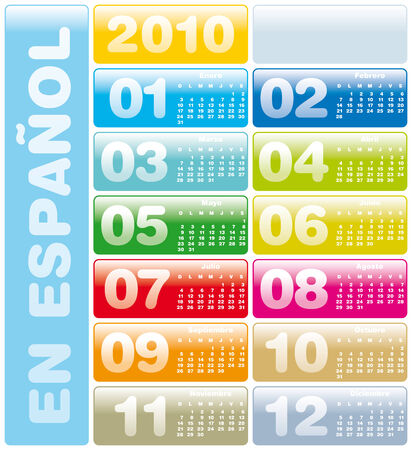 Colorful Calendar for year 2010 in vector format. In Spanish Vector