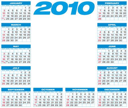 Blue Calendar for year 2010, in vector format.  Stock Vector - 5562737