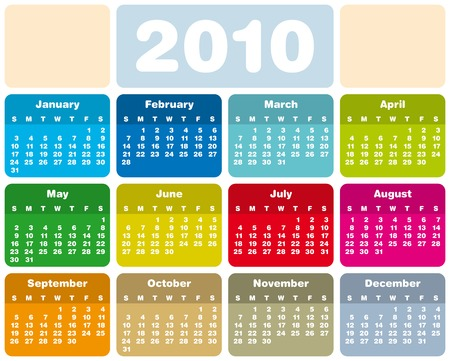 Colorful Calendar for year 2010 in vector format Stock Vector - 5562742