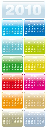 Colorful Calendar for year 2010 in vector format Stock Vector - 5562735