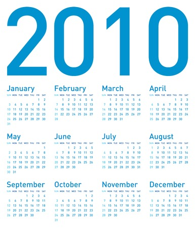 Simple Blue Calendar for year 2010, in vector format. Stock Vector - 5562739