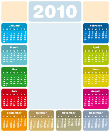 Colorful Calendar for year 2010 in vector format Stock Vector - 5562738