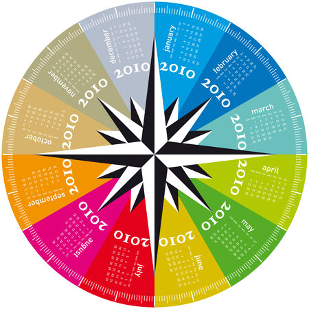 Colorful Calendar for year 2010, rotating design, in vector format. Stock Vector - 5583429