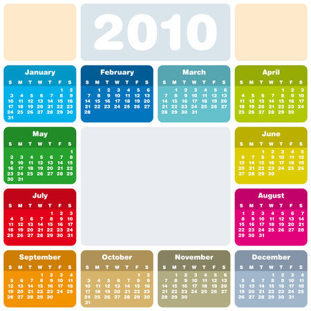 Colorful Calendar for year 2010 in vector format Stock Vector - 5603260