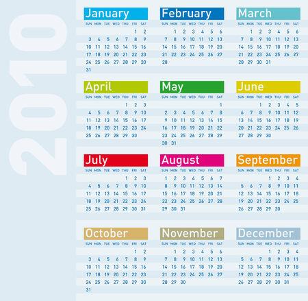 Calendar for year 2010, vector format. Stock Vector - 5603259