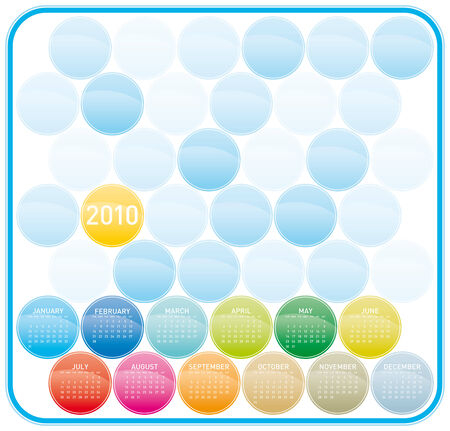 Colorful Calendar for year 2010 in a circles theme. in vector format. Stock Vector - 5603261