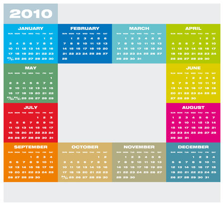 Colorful Calendar for year 2010 Stock Vector - 5646399