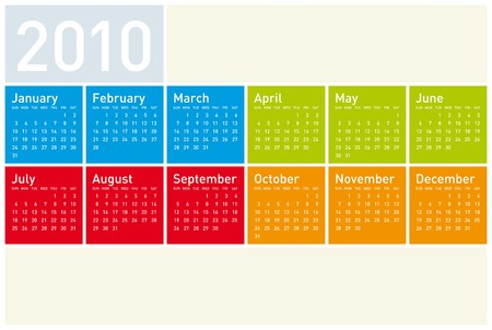 Colorful Calendar for year 2010. Stock Vector - 5646401