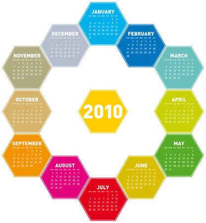 Calendar for year 2010 in an hexagonal pattern Stock Vector - 5646398