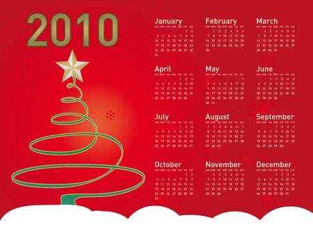 themed: Christmas themed 2010 Calendar Illustration