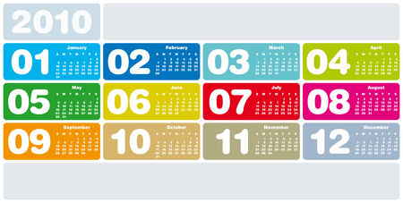 schedulers: Colorful Calendar for year 2010 in vector format Illustration
