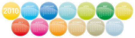 Colorful Calendar for year 2010 in a circles theme. in vector format. Stock Vector - 5693125
