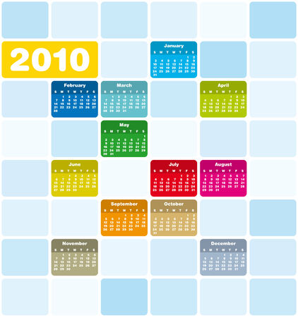 Colorful Calendar for year 2010 Stock Vector - 5732815