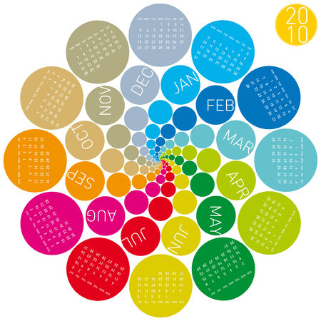 Colorful Calendar for year 2010, rotating design Stock Vector - 5732826