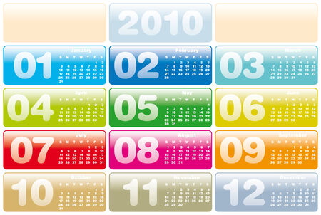 Colorful Calendar for year 2010 Stock Vector - 5774714
