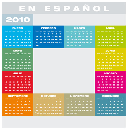 Colorful Calendar for year 2010, in Spanish Stock Vector - 5774713
