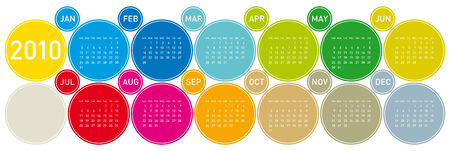 Colorful Calendar for year 2010 in a circles theme. in vector format. Stock Vector - 5811817