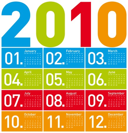 Colorful Calendar for year 2010. in vector format. Stock Vector - 5811818