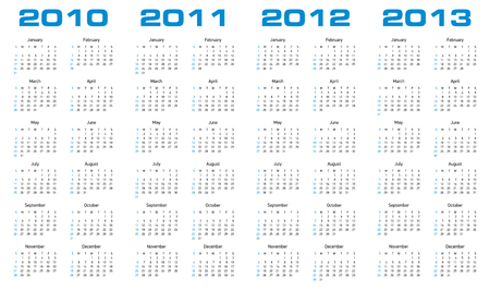 Simple calendar for years 2010, 2011, 2012 and 2013.  Vector