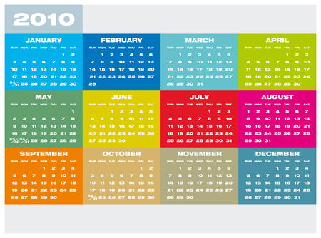 Colorful Calendar for year 2010 in vector format Stock Vector - 5852161