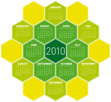 Green Calendar for year 2010 in an hexagonal pattern (vector format) Stock Vector - 5852162