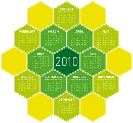 Green Calendar for year 2010 in an hexagonal pattern (vector format) Stock Vector - 5852162
