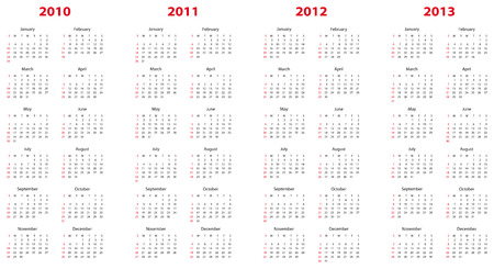 schedulers: Simple calendar for years 2010, 2011, 2012 and 2013.