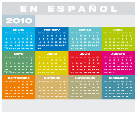 Colorful Calendar for year 2010 in format, in Spanish Stock Vector - 5910612