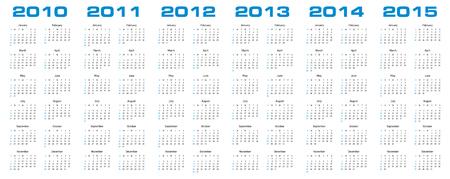 newyear: Calendario simple para los a�os 2010, 2011, 2012, 2013, 2014 y 2015.