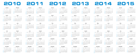 Simple calendar for years 2010, 2011, 2012, 2013, 2014 and 2015. Vector