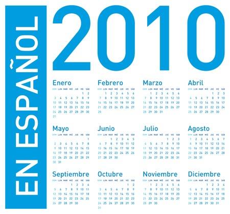 en: Simple Blue Calendar for year 2010. In Spanish (en espa�ol)