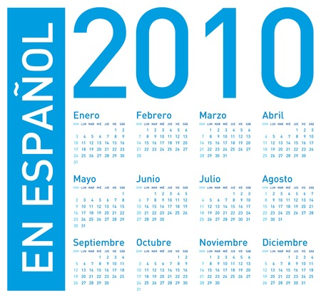 Simple Blue Calendar for year 2010. In Spanish (en espa�ol) Stock Vector - 5955062