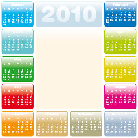 Colorful Calendar for year 2010 in vector format Stock Vector - 5955064
