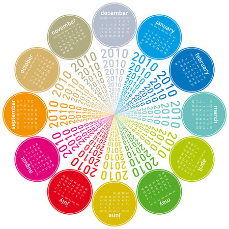 Colorful Calendar for year 2010, rotating design, in vector format. Stock Vector - 5955060