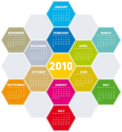 Calendar for year 2010 in an hexagonal pattern (vector format) Stock Vector - 5955061
