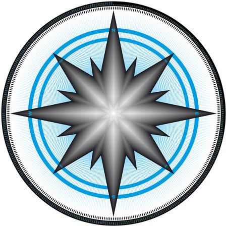 puntos cardinales: Br�jula Design, con marcas en cada uno de los 360 grados y cada grado numerados. Vectores