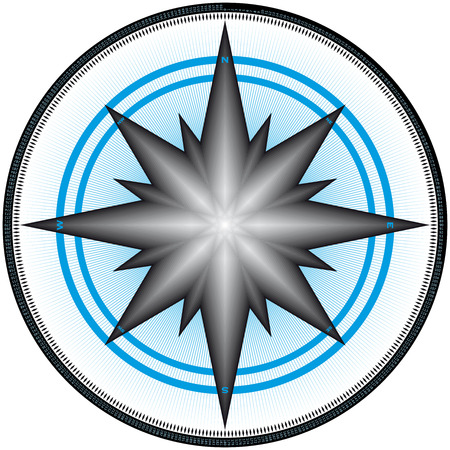 Compass Design, with markings at each of the 360 degrees, and each degree numbered.