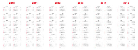 Simple calendar for years 2010, 2011, 2012, 2013, 2014 and 2015.