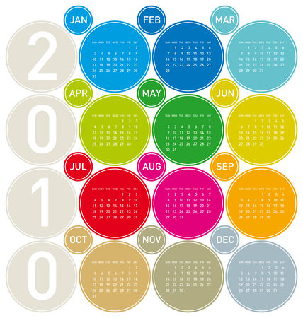 Colorful Calendar for year 2010 in a circles theme. in vector format. Stock Vector - 5984933
