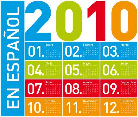 almanac: Colorful Calendar for year 2010. in vector format. In Spanish. Illustration