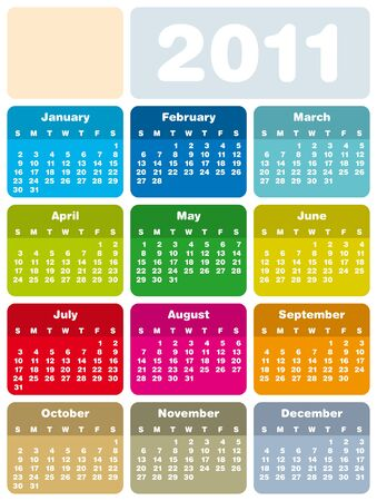 Colorful Calendar for Year 2011 Stock Vector - 6673844